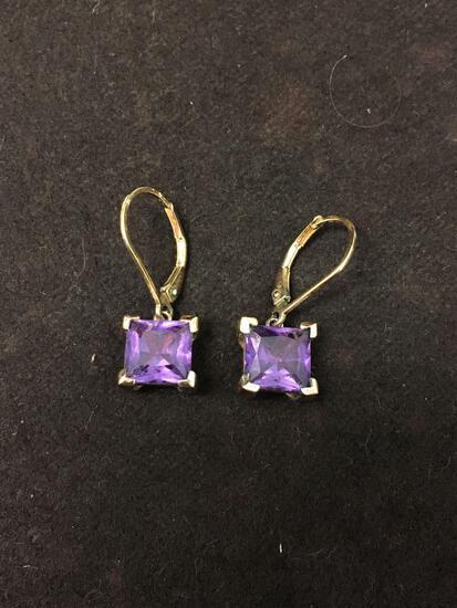 Sterling Silver & Maroon Gemstone Sterling Silver Dangle Earrings