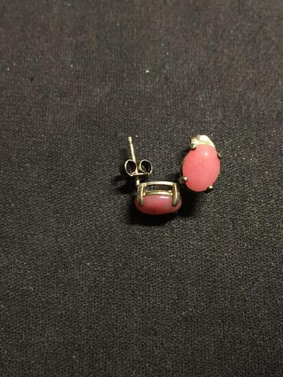 Oval 8x6mm Rhodochrosite Cabochon Pair of Sterling Silver Stud Earrings