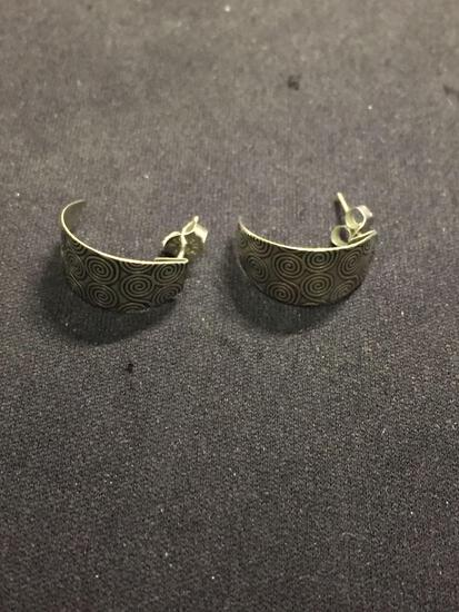 Spiral Decorated Marquise Half Hoop Shaped Pair of Sterling Silver Earrings