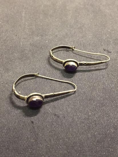 Oval 7x5mm Amethyst Cabochon Handmade Indonesian Style 1.75in Long Pair of Sterling Silver Drop