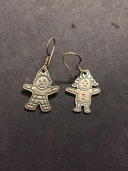 Save the Children Designed Whimisical Child Motif Pair of Sterling Silver Earrings