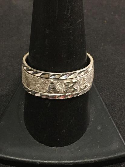 Polished Double Band Thick Sterling Silver Ring Sz 10.25