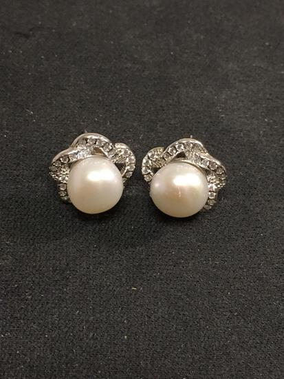 Pearl & White Gemstone Lined Sterling Silver Earrings
