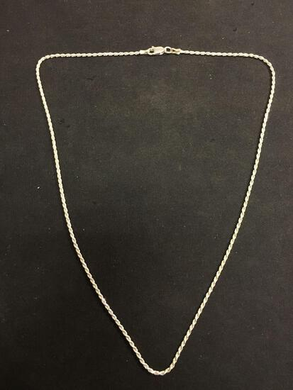 18 Inch Sterling Silver Rope Chain Necklace