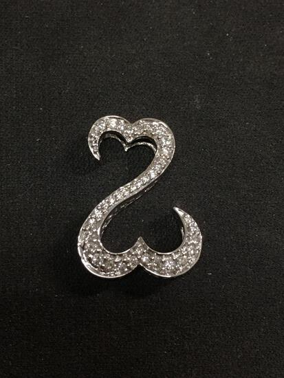 Jane Seymour JWBR Open Hearts 14K White Gold 1.0ctw Diamond Pendant - $1500 Retail