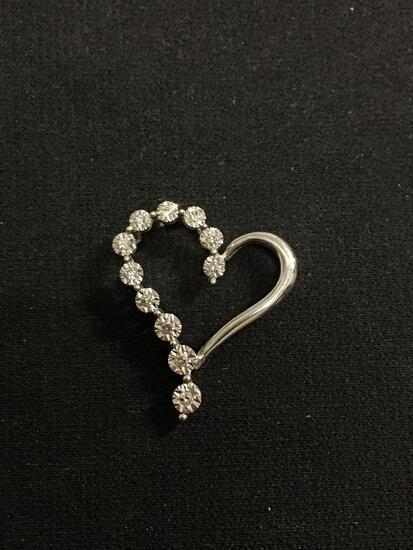 Incredible 14K White Gold & Diamond Lined Heart Pendant - 1.5 Grams