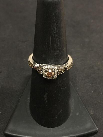 HIGH END - LeVian 14K White Gold Ring W/ Chocolate & White Diamonds - Square Halo