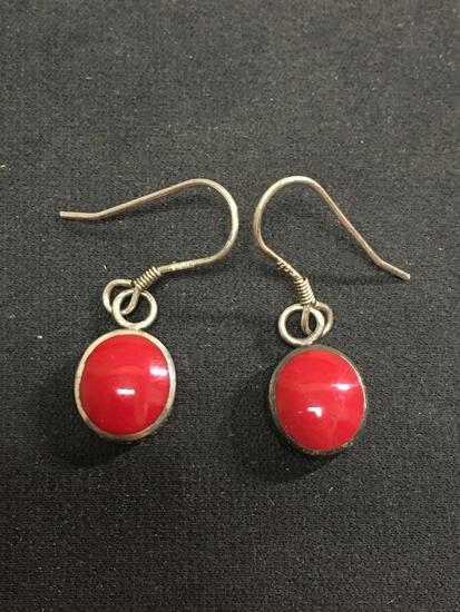 Bali Style Sterling Silver & Red Carnelian Dangle Earrings