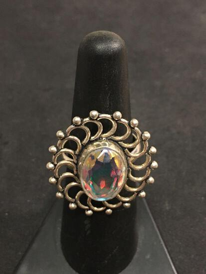 Sterling Silver & Multi Color Stone Ring Sz 6
