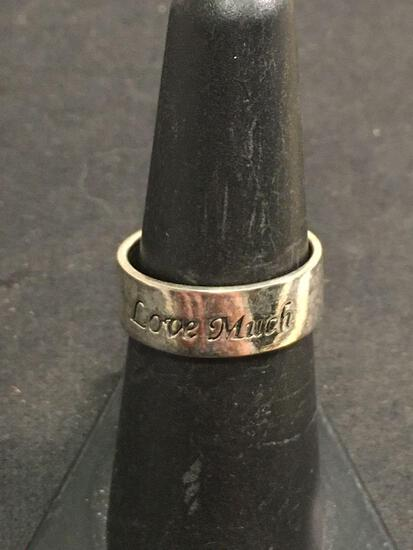 Love Much Wide Sterling Silver Ring Band Sz 7