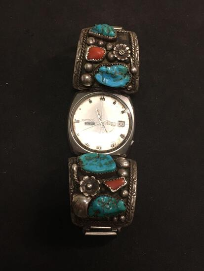 INCREDIBLE Seiko DX Automatic 25 Jewel Watch W/ Heavy Zuni ALW Native American Sterling Silver Bands