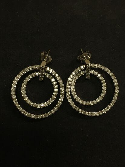 STUNNING 1/2 Carat TW 14K White Gold Double Circle Earrings WOW - 9.31 Grams