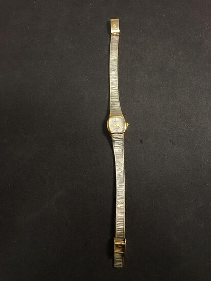 Elgin Designer Square 15mm Gold-Tone Bezel Diamond Accented Stainless Steel Watch w/ Bracelet