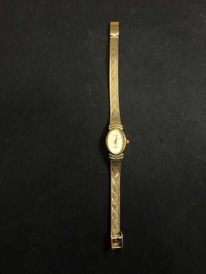 Elgin Designer Oval 20x16mm Gold-Tone Bezel Diamond Accented Stainless Steel Watch w/ Bracelet