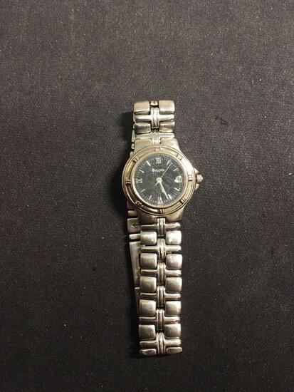 Bulova Designer Round 29mm Bezel Stainless Steel Watch w/ Bracelet