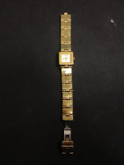 Gruen Designer Rectangular 23x21mm Gold-Tone Bezel Stainless Steel Watch w/ Bracelet