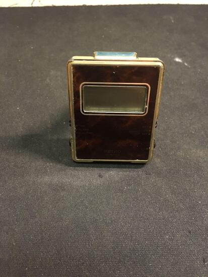 Rectangular 2x1.75in Gold-Tone Seiko Designer Folding Travel Alarm Clock