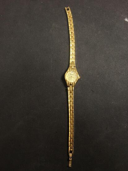 Gruen Designer Round 15mm Diamond Accented Face Gold-Tone Stainless Steel Watch w/ Bracelet