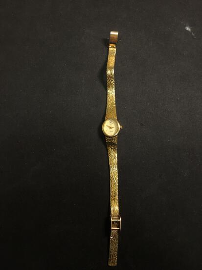 Elgin Designer Oval 17x16mm Bezel Diamond Accented Rose Motif Gold-Tone Stainless Steel Watch w/