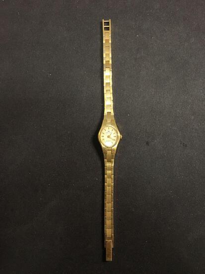 Waltham Designer Oval 15x12mm Face Gold-Tone Stainless Steel Watch w/ Bracelet