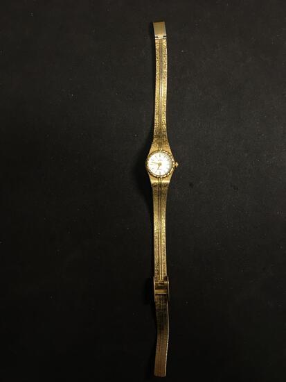 Elgin Designer Round 16mm Bezel Gold-Tone Stainless Steel Watch w/ Bracelet