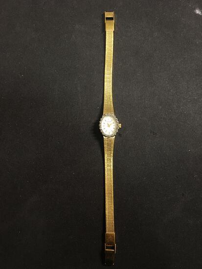 Pulsar Designer Oval 18x15mm Diamond Accented Bezel Gold-Tone Stainless Steel Watch w/ Bracelet
