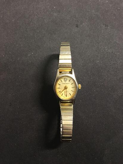 Times Square Designer Oval 16x14mm Diamond Accented Face Gold-Tone Stainless Steel Watch w/ Bracelet