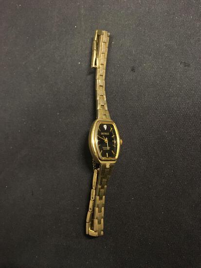 Benrus Designer Rectangular 20x14mm Bezel Diamond Accented Gold-Tone Stainless Steel Watch w/