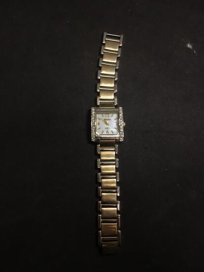 Gruen Designer Square 20mm Rhinestone Accented Two-Tone Stainless Steel Watch w/ Bracelet