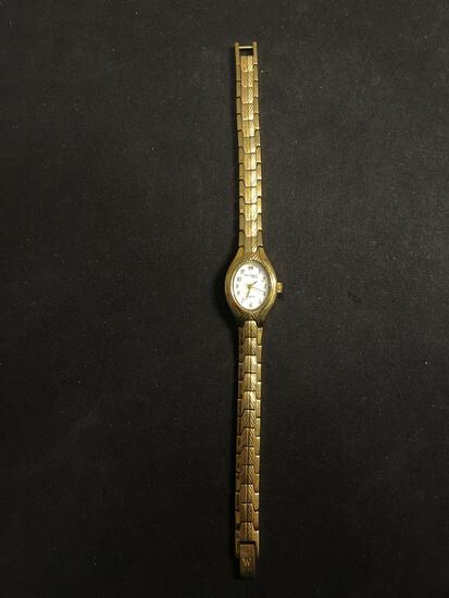 Waltham Designer Oval 16x13mm Diamond Accented Face Gold-Tone Stainless Steel Watch w/ Bracelet