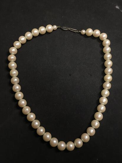 Round 9.5mm Faux Pearl 16in Necklace w/ Sterling Silver Safety Clasp