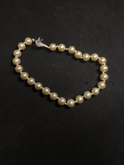 Round 7.5mm Faux Pearl 9in Bracelet w/ Broken Clasp