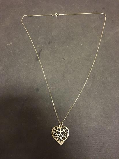 Danecraft Designer Hand-Crafted 1in Sterling Silver Heart Pendant w/ 24in Long Box Chain
