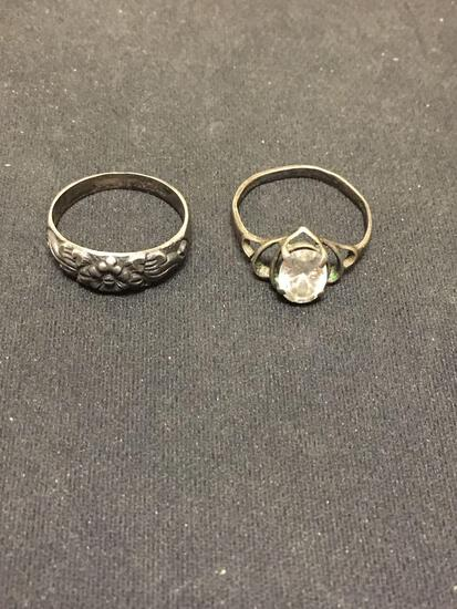 Worn Vintage Sterling Silver Ring Bands, One Floral Motif 6mm Wide & CZ Accented 9mm Wide Filigree