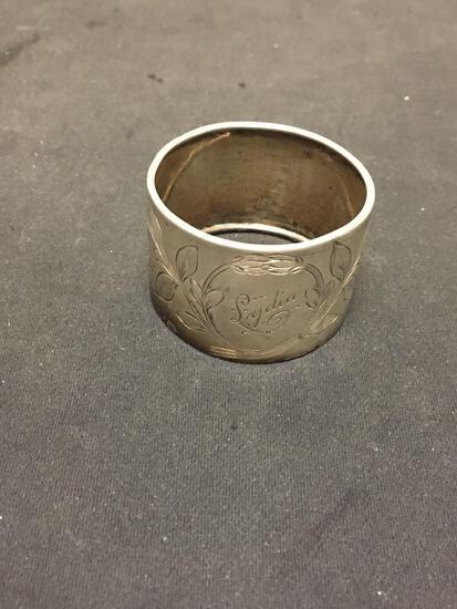 Floral Filigree Engraved 27mm Wide 1.5in Diameter Signed Designer Engravable Sterling Silver Napkin