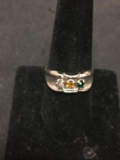 Karatclad Designer 9mm Wide Tapered Gemstone Accented 18Kt White Gold Plated Ring Band