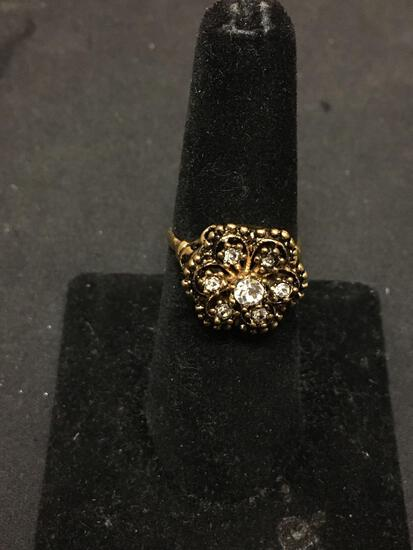 Rhinestone Accented 15mm Wide Tapered 14Kt Gold-Filled Ring Band