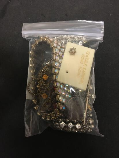 Collection of Various Size & Style Rhinestone Accented Jewelry, 2 Bracelets, 3 Brooches, 1 Tie Clip