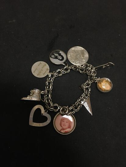 Double Curb Link 8.0mm Wide 8in Long Sterling Silver Bracelet w/ Various Charms