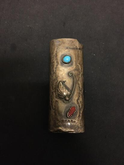 Old Pawn Native American Style 3in Long Sterling Silver Bic Lighter Case w/ Turquoise & Coral