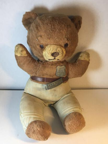 """Very Old 19"""" Tall Smokey The Bear Stuffed Animal with Some Damage/Love As Shown"""
