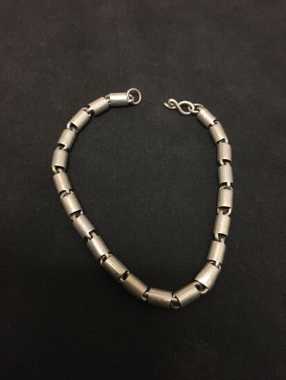 "Amazing Barrel Ink Heavy Ornate Sterling Silver 8"" Chain Bracelet - 15 Grams"