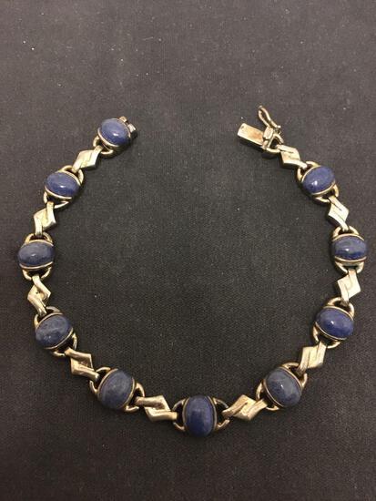 7.5 Inch Sterling Silver & Blue Lapis Lined Vintage Bracelet - 15 Grams