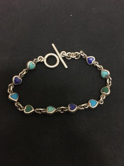 """Old Pawn Multi Stone Inlay Sterling Silver 8"""" Toggle Chain Bracelet - 19 Grams"""