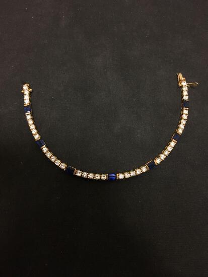 "Incredible White & Blue Gemstone Lined Sterling Silver Tennis Bracelet - 7"""