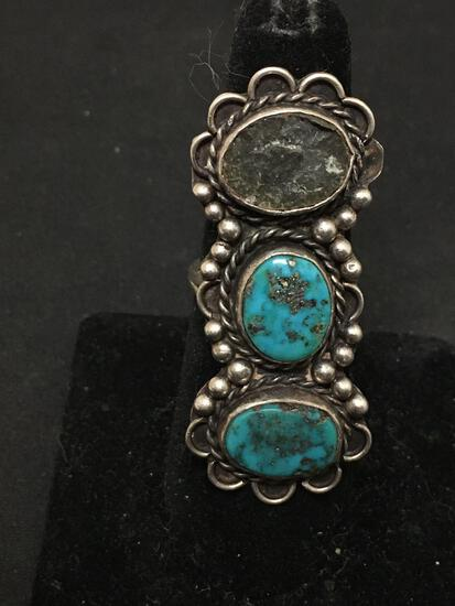 WOW Old Pawn Native American Large Turquoise Chunk Sterling Silver Tall Ring Sz 7