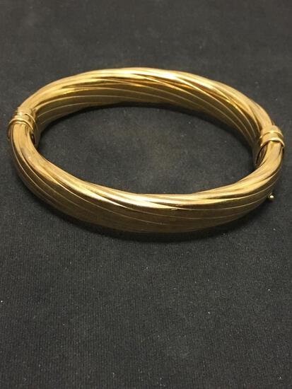 Italy 925 Sterling Silver Gold Washed Puffy Bangle Clasp Bracelet - 24 Grams