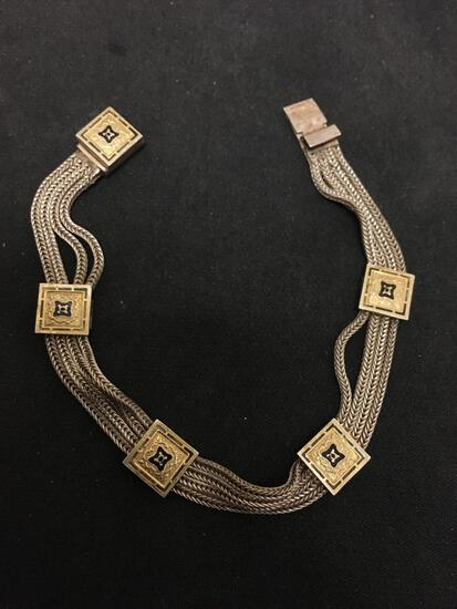 """Antique Designed Sterling Silver & Gilted Enamel Chain Bracelet - 7"""""""