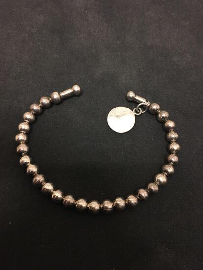 Heavy Native Style Sterling Silver Beaded Cuff Bracelet - 21 Grams