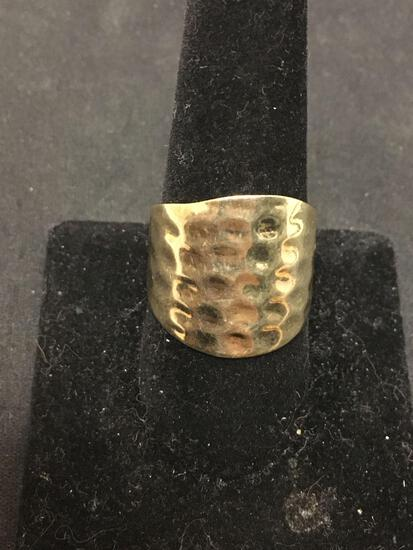 SETA Hammered Sterling Silver Gold Tone Statement Ring Size 10